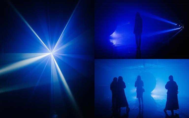 莫提克以魚子鈷藍之夜為靈感,為品牌創造了沉浸式互動裝置作品《藍色感知Sense of Blue》。(圖/品牌提供)