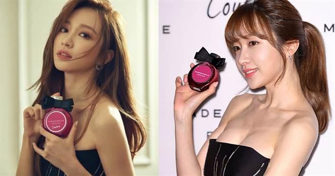 ROCHAS香氛韓國代言人EXID哈妮,配合紫裙淡香精穿得性感浪漫。【圖/COSMOPLITAN,kpopping】