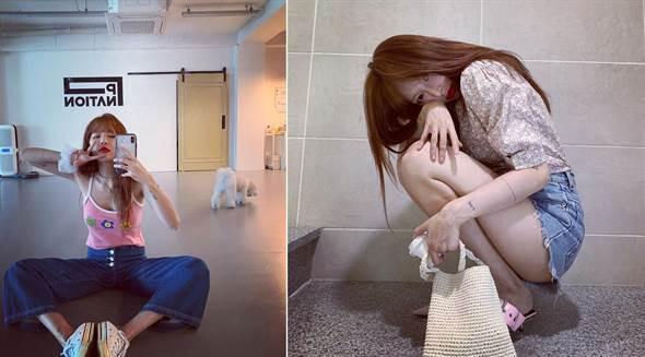 一頭粉珊瑚髮色的泫雅,下身簡單的搭配牛仔褲就超級好看!(圖片來源:泫雅IG@hyunah_aa)