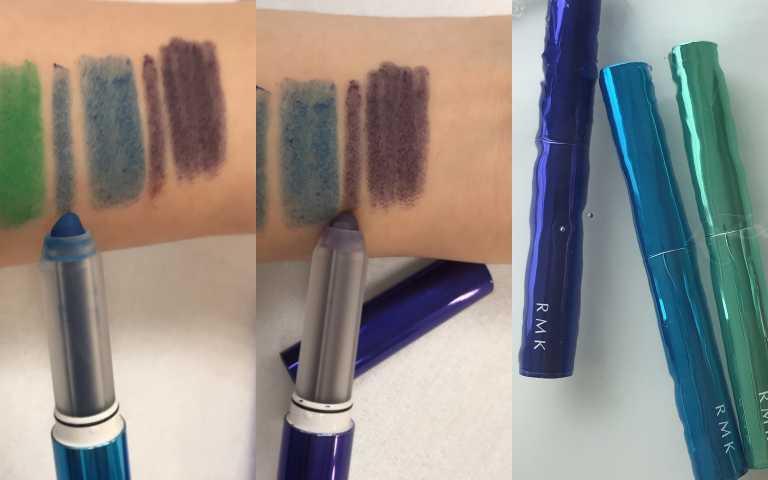 今年主打眼妝色以(中)寶藍01、(左)丹寧鐵藍02為主,都是牛仔色系。(圖/品牌提供)