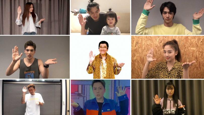 鬼鬼(右排中)響應師兄PIKO太郎〈PPAP-2020-〉洗手舞,特地去找來豹紋睡衣復刻。(圖/愛貝克思提供)