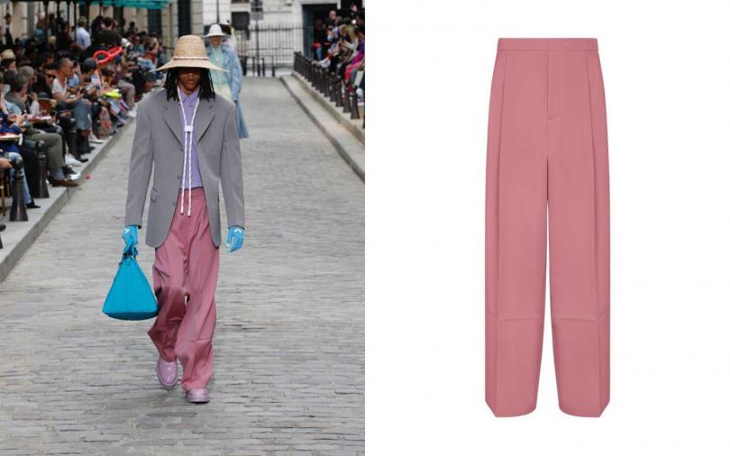 以粉紫、粉紅、灰與天藍色堆疊出城市花園中的一角。LOUIS VUITTON 皺褶長褲/41,900元(圖/品牌提供)