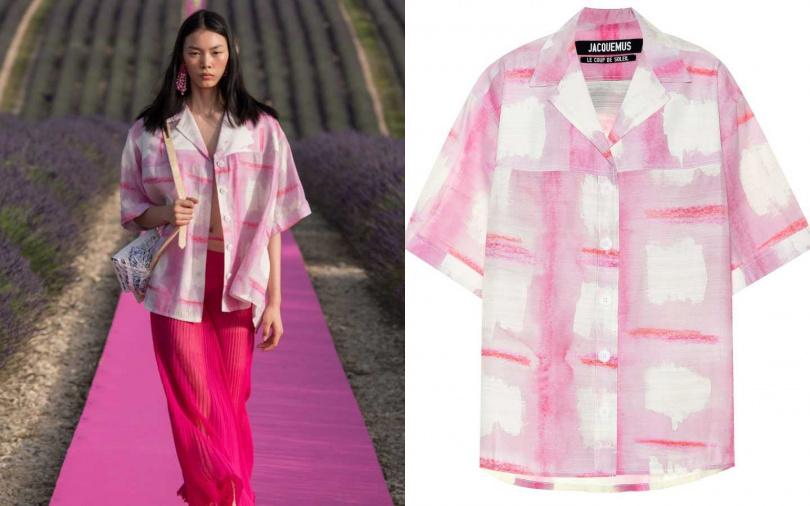 不同程度的粉搭上不同透明度與剪裁,對比出率性的度假裝扮。JACQUEMUS La Chemise Vallena Shirt 襯衫/約20,020元(圖/品牌提供)