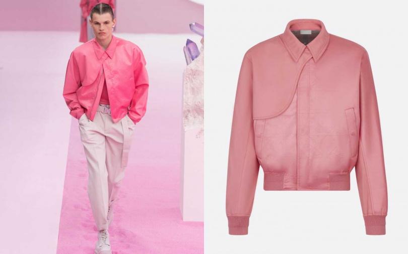 將風衣結構中的「槍插片」以馬鞍形裝加入到短版夾克之中。DIOR MEN 粉紅色科技純棉襯衫式衣領夾克/150,000元(圖/品牌提供)