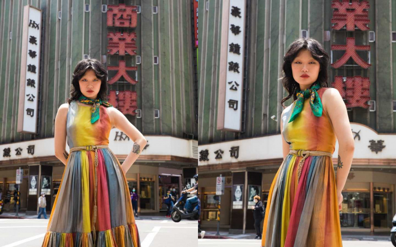 DIOR DIORAURA彩色無袖層疊長洋裝/240,000元、Dior Natural粗麻帆布腰帶/33,000元;sandro 綠色花紋領巾/3,950元(圖/戴世平攝)