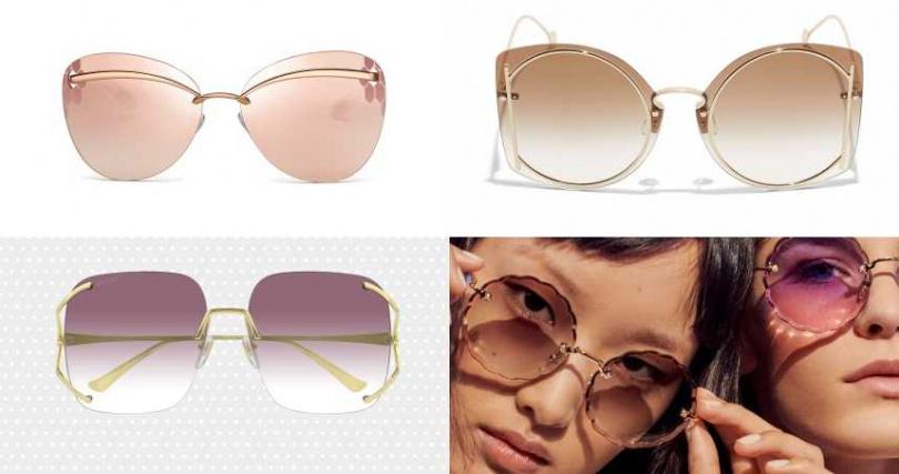 推薦太陽眼鏡:(左上)BVLGARI 太陽眼鏡/價格未定(左下)GUCCI 漸層無框太陽眼鏡/16,100元(右上)Salvatore Ferragamo棕色太陽眼鏡/17,500元(右下)CHLOE。(圖/品牌提供)