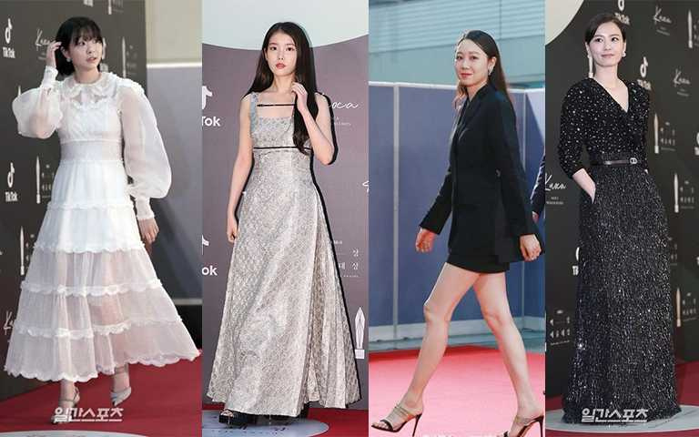 金多美FENDI、IU GUCCI、孔孝真BURBERRY、鄭有美穿CHANEL,四女星以黑白色為這次的禮服選擇。(圖/일간스포츠,Pinterest)