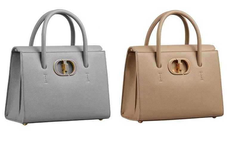 Dior St Honoré 石灰色、米色粒紋小牛皮中型手提包/135,000元(圖/品牌提供)