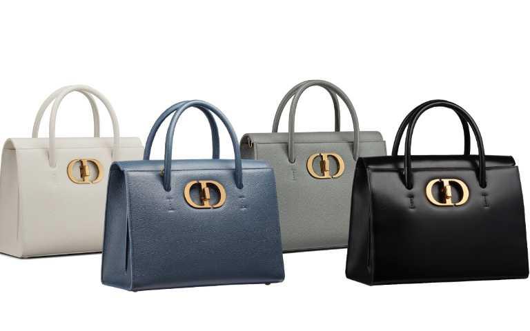 Dior St Honoré 拿鐵白、丹寧藍」石灰色粒紋小牛皮大型手提包/150,000元、黑色光滑小牛皮大型手提包/150,000元(圖/品牌提供)