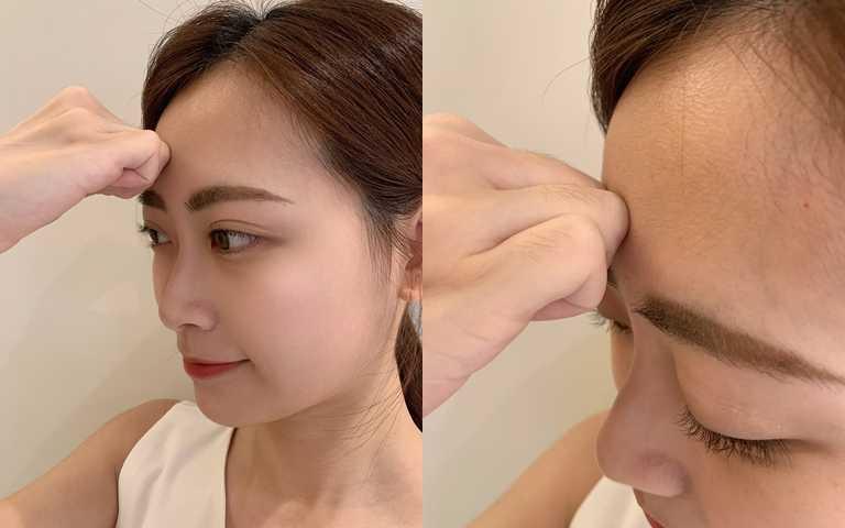 額頭處的按摩因為需要一些力道,用指腹可能會不夠力,用指關節剛剛好。(圖/吳雅鈴攝影)