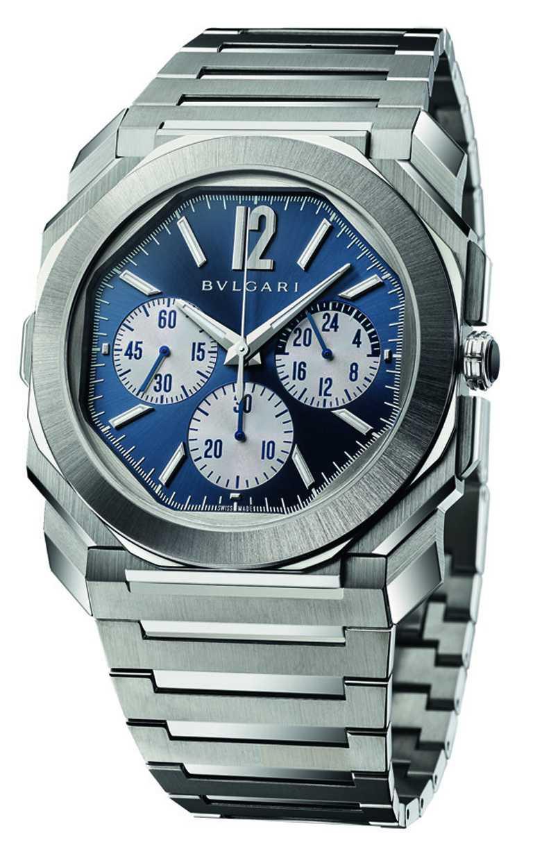 BVLGARI「Octo Finissimo S Chronograph GMT S」精鋼計時腕錶,43mm,超薄緞面拋光精鋼錶殼,BVL 318型計時兩地時間機械機芯╱522,000元。(圖╱BVLGARI提供)