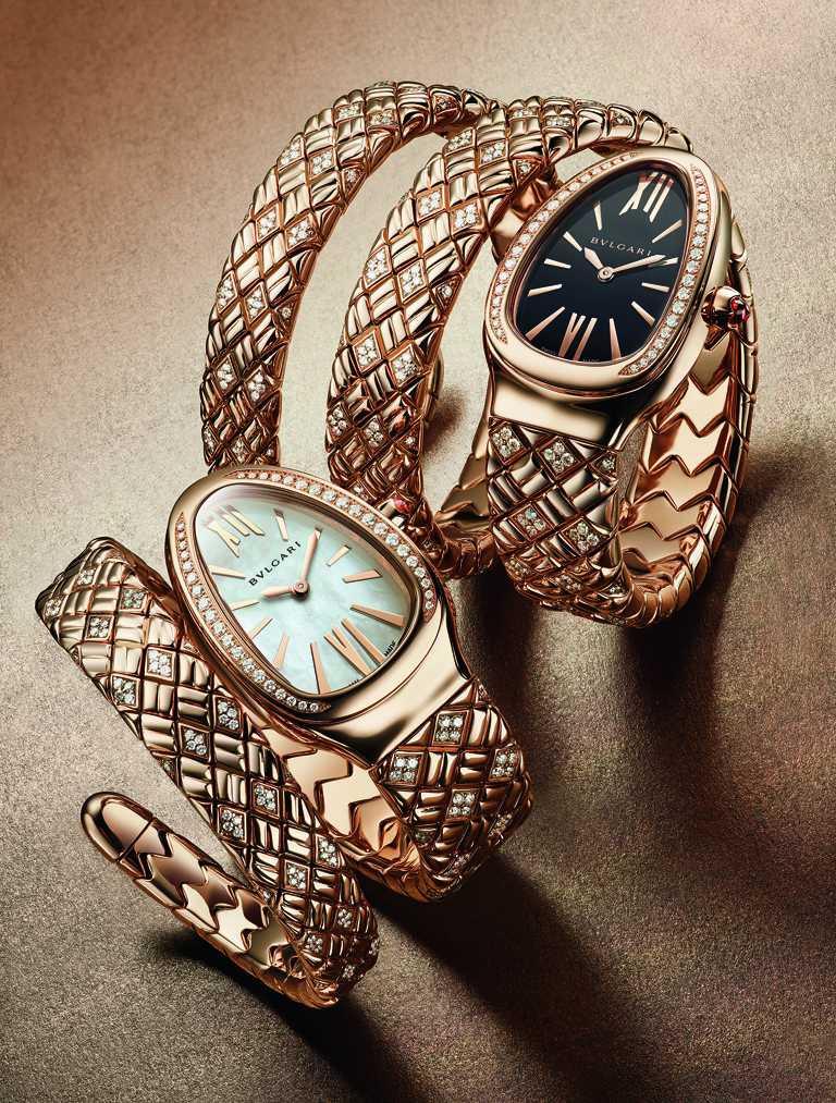 BVLGARI「Serpenti Spiga」系列,玫瑰金半鑽腕錶,(左)白色珍珠母貝錶盤,鑽石281顆╱1,435,000元;(右)黑色漆面錶盤,鑽石461顆╱2,071,000元。(圖╱BVLGARI提供)