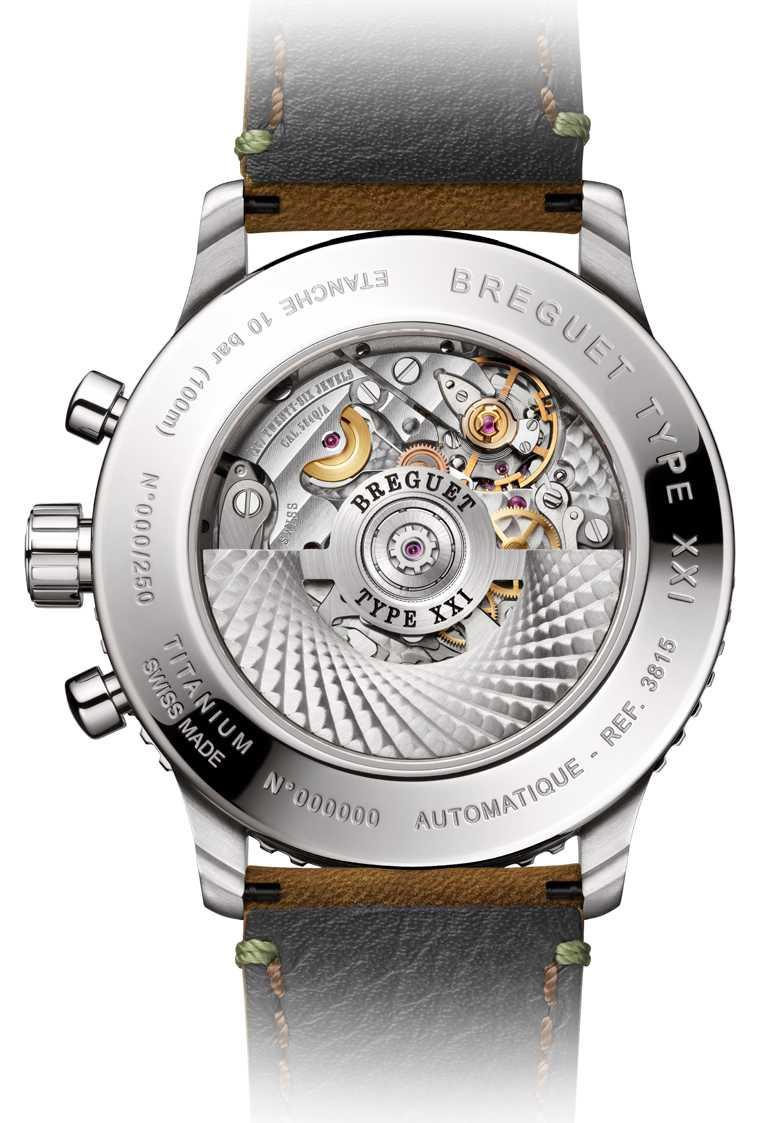 BREGUET「Type XXI 381」計時腕錶,搭載584Q/A型具飛返功能自動上鏈機芯,備有獨立編號和寶璣簽名,限量250只╱479,000元。(圖╱BREGUET提供)
