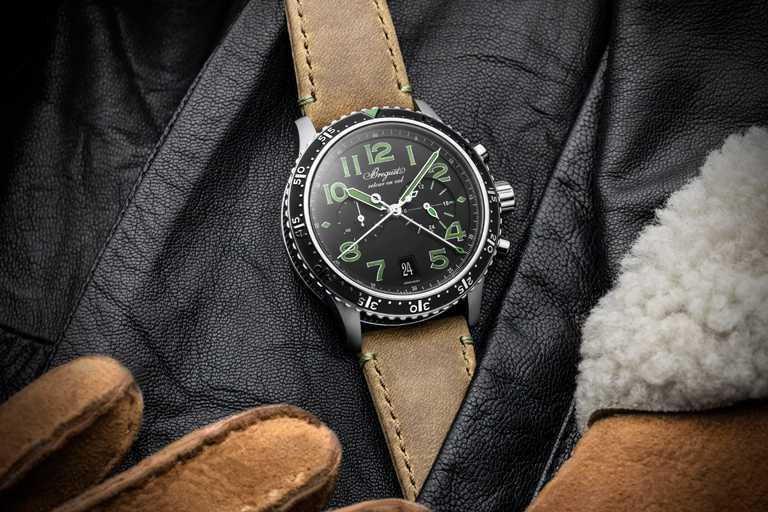 BREGUET「Type XXI 381」計時腕錶(綠色時標版),42mm,鈦金屬錶殼,584Q/A型具飛返功能自動上鏈機芯,限量250只╱479,000元。(圖╱BREGUET提供)