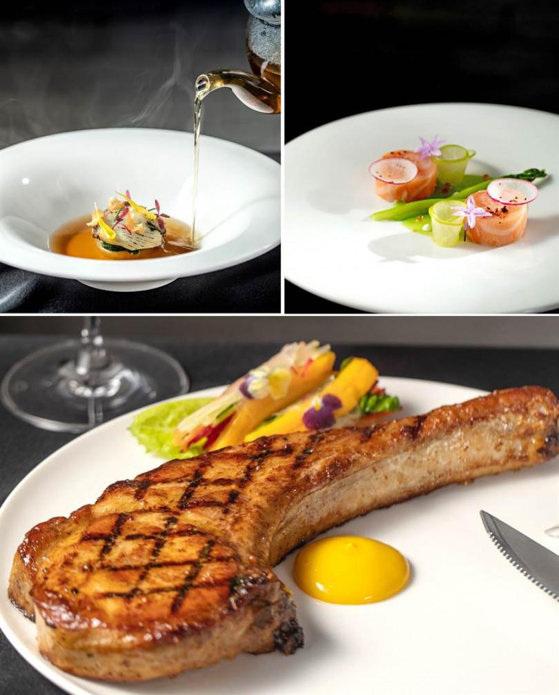 「Monsieur L」台北米其林月特餐:「雞肉澄清湯 + 南非鮑魚 + 日本大根」、「鮭魚 + 蘆筍 + 青蘋果」、「戰斧豬排 + 蔬菜春捲 + 芒果醬汁」。(照片主辦提供)