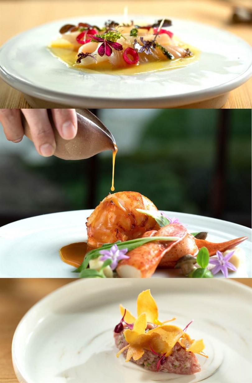 「樂埔町 Le Puting」台北米其林月特餐有:「仲秋蜜果(青甘生魚片)」、「金麟化龍(龍蝦)」、「塔塔秋楓(牛肉塔塔)」。(照片主辦提供)