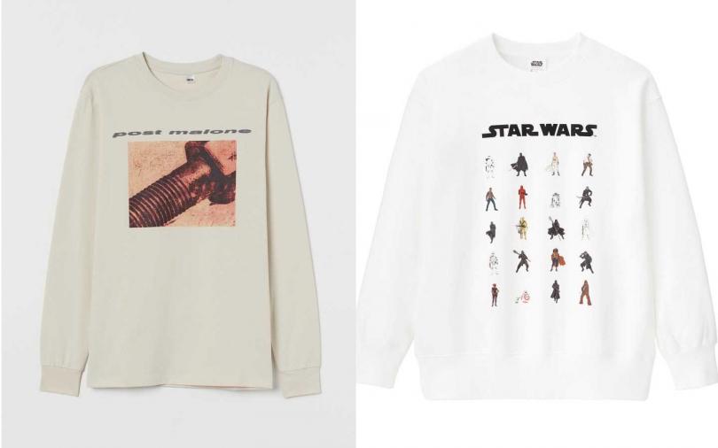 H&M Post Malone 同名系列上衣/699元 ;右:為紀念星際大戰最終章,GU推出STAR WARS聯名系列,以經典場景與人氣角色為主題,滿足星戰迷的時尚穿搭。(圖/品牌提供)