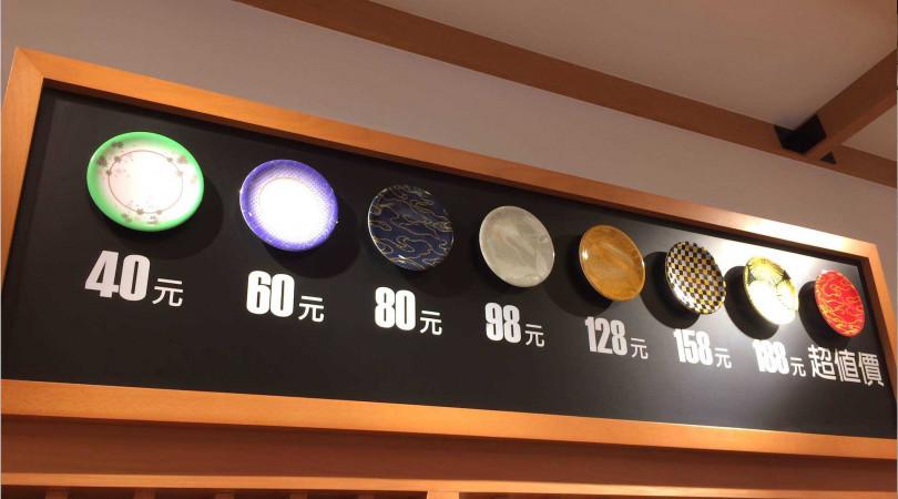 價位從40~188元共8款顏色、7種價位(圖/合點壽司)