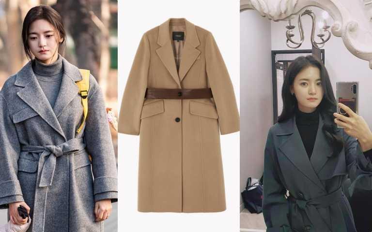 編輯推薦:高甫潔喜歡穿著灰色或是駝色大衣,展現高挑好身材。Maje_駝色腰帶大衣/價格店洽(圖/品牌提供)