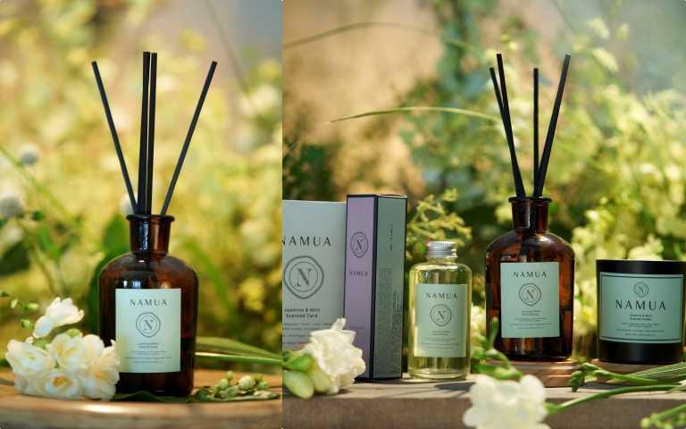 NAMUA那木瓦《茉莉X薄荷》香氛全系列,包含蠟燭、擴香、香氛卡(圖/品牌提供)