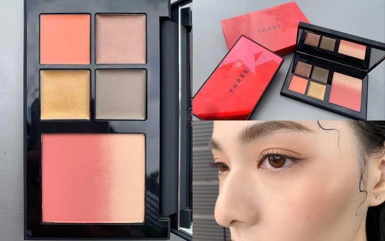 THREE華麗搖滾采粧盒/3,200元以4色霜狀眼影搭配混色頰彩,實擦效果相當細緻服貼,擁有高度好評。(圖/吳雅鈴攝影)