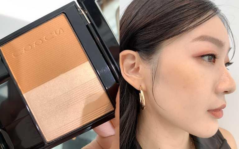 SUQQU晶采淨妍頰彩#123/2,100元左邊是親膚性佳的黃棕色、右邊是細緻柔美的打亮色,混色使用可以幫肌膚增添自然不死白的適中亮度。(圖/吳雅鈴攝影)