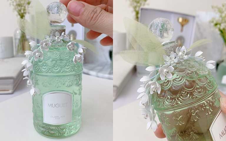 以手工剪裁、塑型與繡製鈴蘭花串,並以珍珠為花之心,詮釋鈴蘭花串在山谷中綻放的優雅身影。(圖/吳雅鈴攝影)