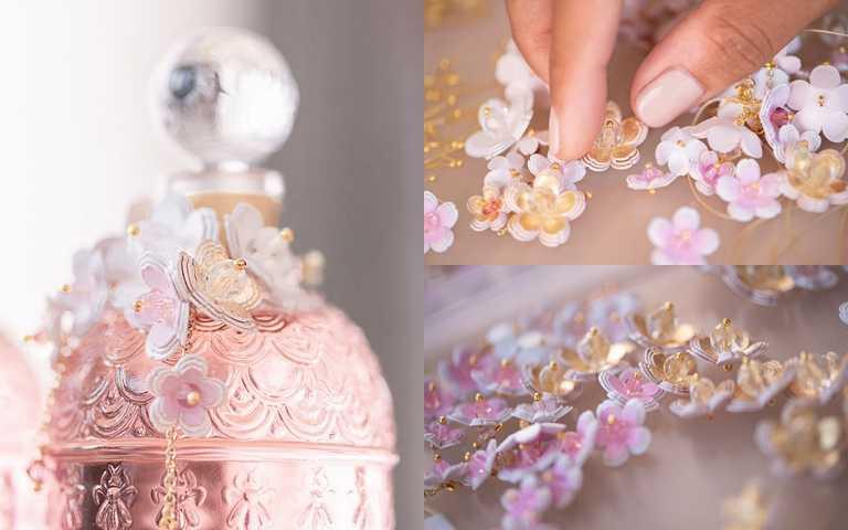 每一朵小小的櫻花都有著粉、白、金的漸層變化色澤,連細節都好用心。(圖/品牌提供)