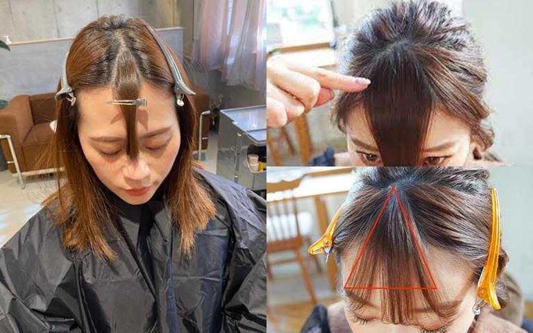 修剪前先抓出瀏海的三角區塊,其餘兩側頭髮再用長嘴夾固定避免掉落。(圖/翻攝網路)