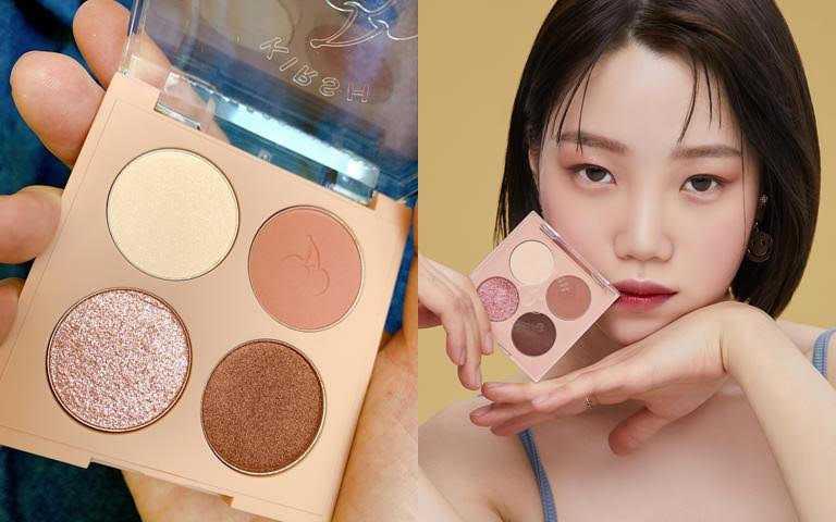 KIRSH BLENDING櫻桃四色眼影盤#03/659元溫柔粉紅*優雅大地色的無花果色組合。(圖/吳雅鈴攝影、品牌提供)