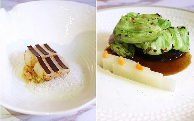 左:春季套餐特色前菜「香煎北海道干貝」;右:風味主菜「紅酒燉澳洲和牛面頰」。(圖/S HOTEL)
