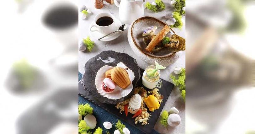 「小美人魚」下午茶將故事中重要元素化為創意,且將甜點與美味串聯,激發小朋友對經典童話故事的喜愛。(圖/台北亞都麗緻大飯店提供)