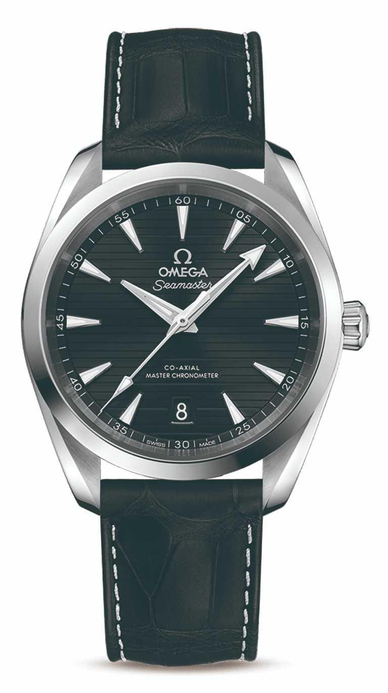 OMEGA「Seamaster海馬」系列,Aqua Terra同軸擒縱大師天文台腕錶,不鏽鋼錶殼,38mm╱177,000元(不含NATO錶帶)。(圖╱omega提供)
