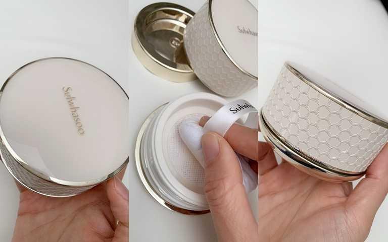 雪花秀完美柔焦輕透蜜粉 20g/1,980元  連外包裝也精美極了,放在梳妝台上很可以。(圖/吳雅鈴攝影)