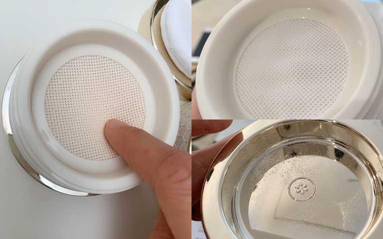 超有彈性的網狀層,每次按壓都能精準沾粉不失手。(圖/吳雅鈴攝影)