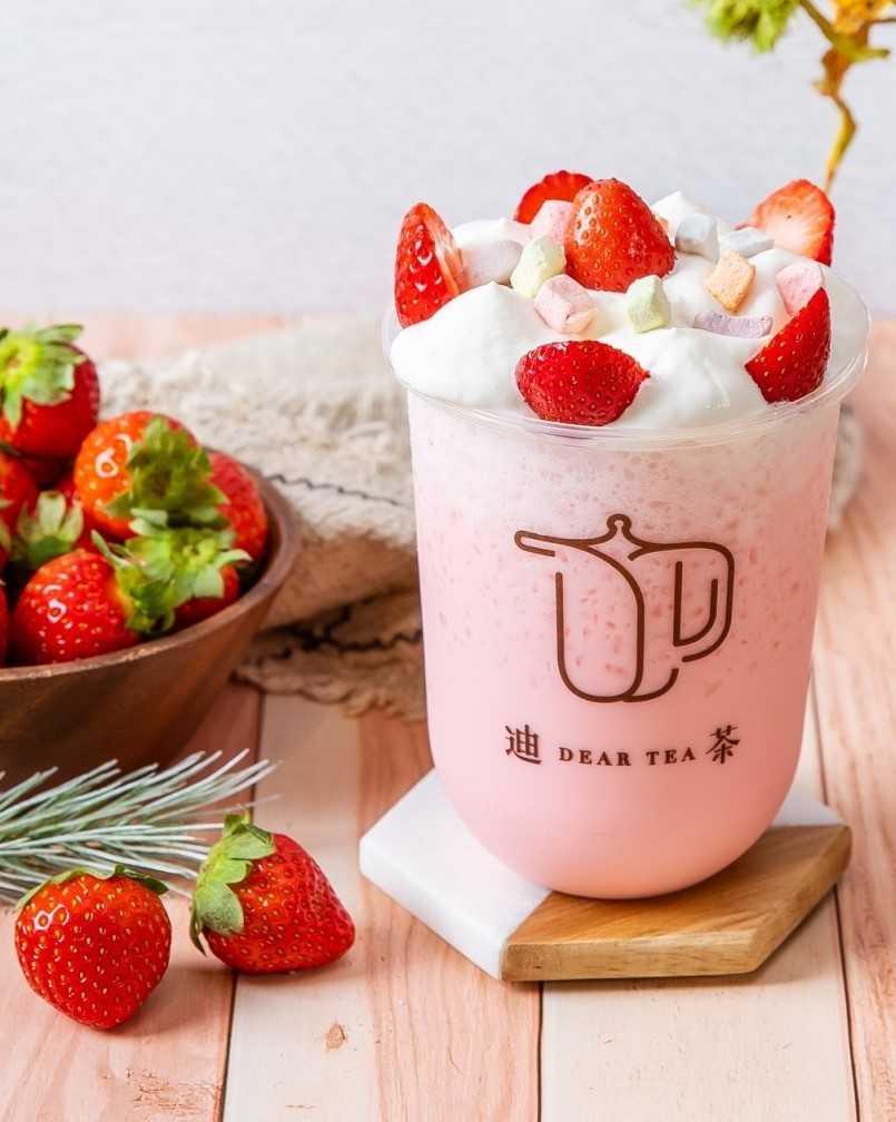 圖為「豆漿泡泡草莓優格蛋糕飲」。