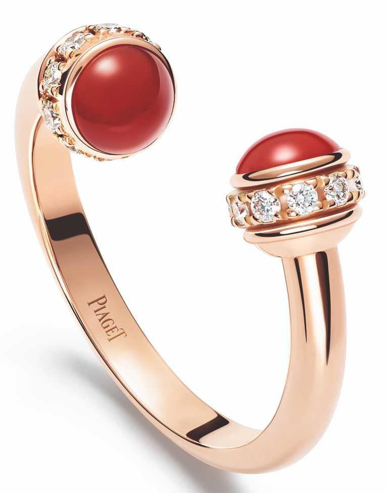PIAGET「Possession」系列,18K玫瑰金紅玉髓鑽石戒指╱93,000元。(圖╱PIAGET提供)