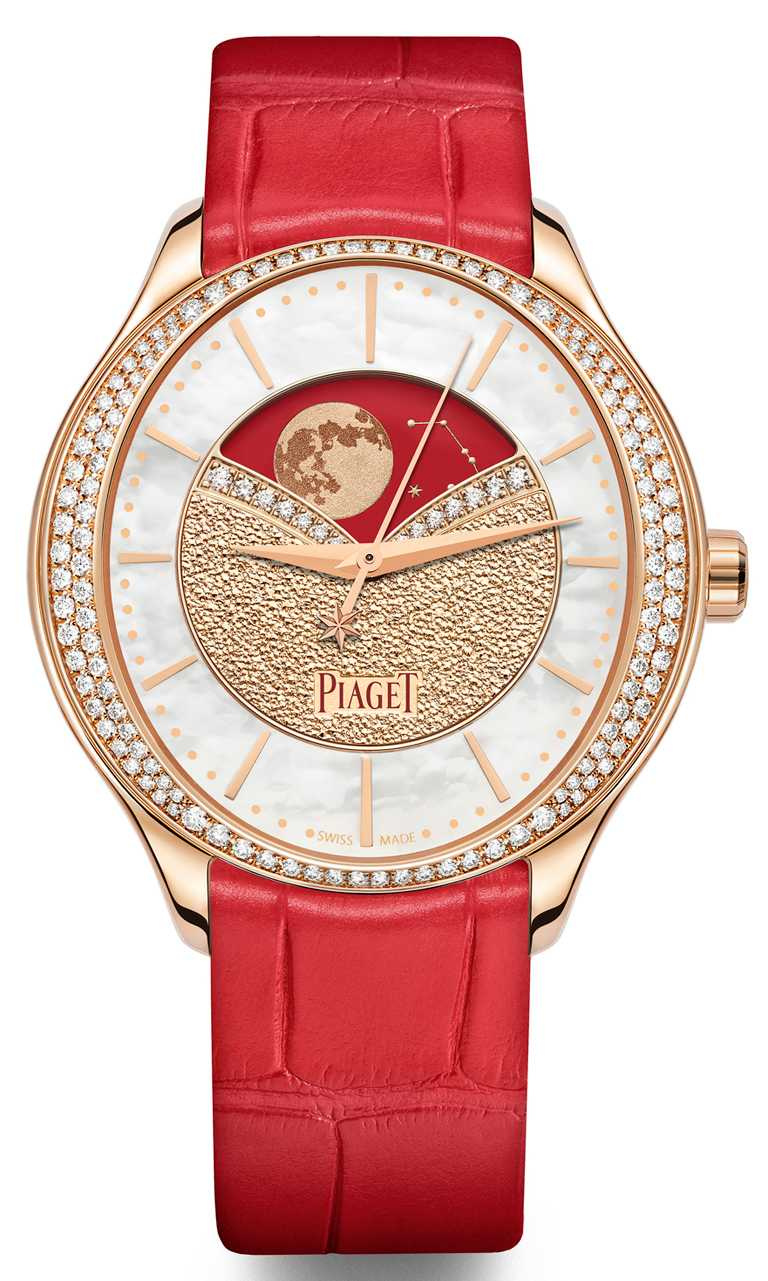 PIAGET「Limelight Stell」系列,月相顯示腕錶╱36mm,18K玫瑰金錶殼,584P型超薄手動上鏈機芯,鑽石140顆╱1,210,000元。(圖╱PIAGET提供)