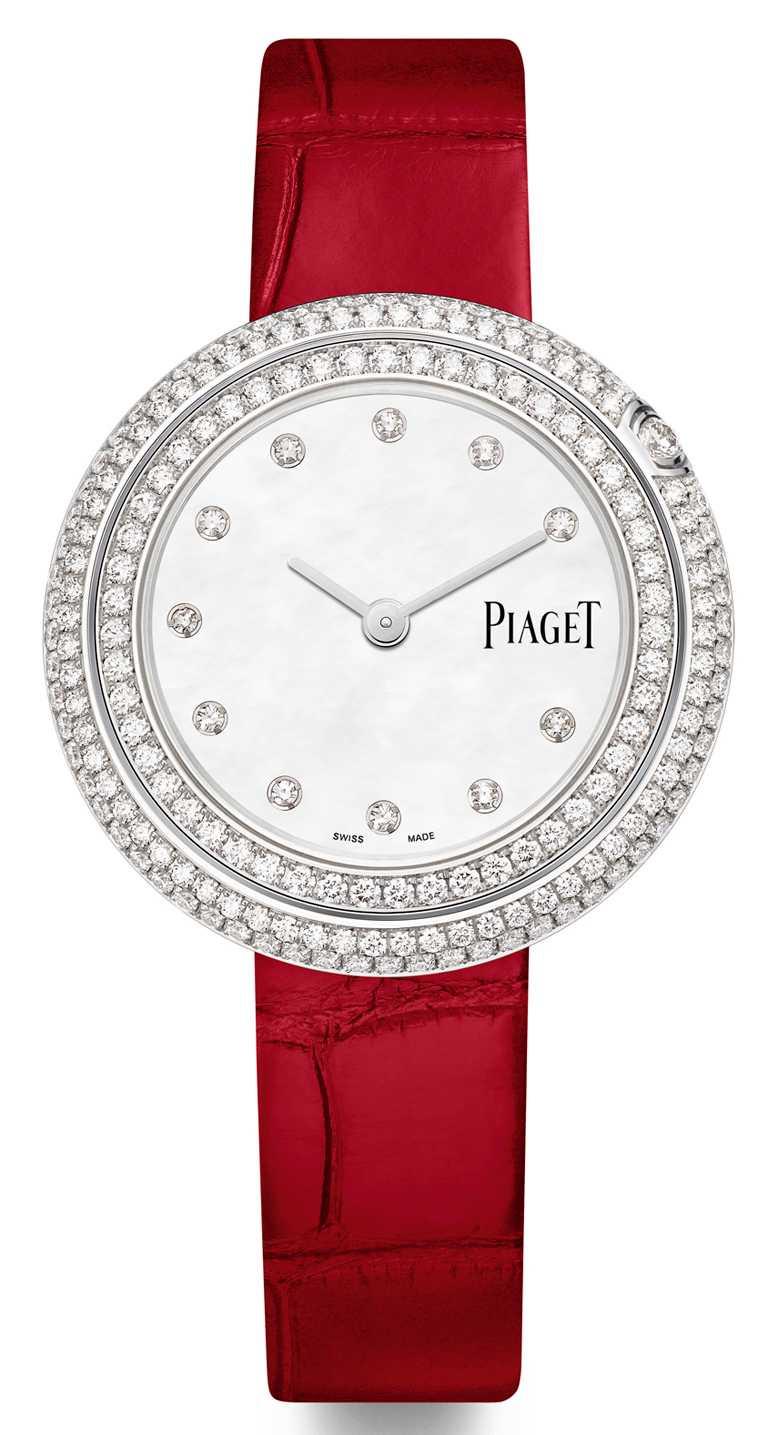 PIAGET「Possession」系列,珍珠母貝錶盤鑽石腕錶╱34mm,18K白金錶殼,56P型石英機芯,鑽石192顆╱825,000元。(圖╱PIAGET提供)