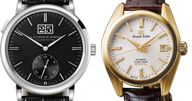 (左)A. LANGE & SOHNE Saxonia Outsize Date,錶殼:18K白金材質/錶徑:38.5mm,機芯:L086.8手動上鍊/振頻每小時21,600次/儲能72小時,功能:小三針/大日期,防水:30米,定價:824,000元。(右)GRAND SEIKO Hi-Beat 36000 Special : SBGH266,錶殼:18K黃金材質/錶徑:39.5mm,機芯:9S85自動上鍊/振頻每小時36,000次/儲能55小時,功能:大三針,防水:100米,其他:限量150只,定價:880,000元。