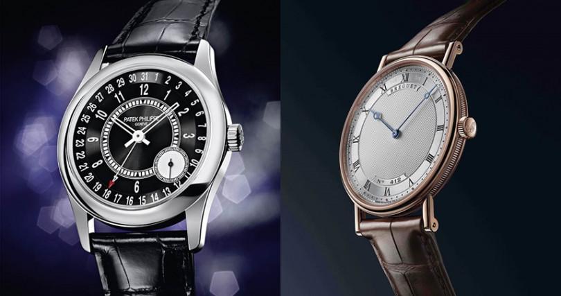 (左)PATEK PHILIPPE Calatrava Ref.6006G,錶殼:18K白金材質/錶徑39mm,機芯:240 PS C自動上鍊/振頻每小時21,600次/儲能48小時/PP印記,功能:大三針/日期,防水:30米,定價:932,000元。(右)BREGUET Classique Extra-Plate Ref.5157,錶殼:玫瑰金材質/錶徑38mm,機芯:502.3自動上鍊/振頻每小時21,600次/儲能45小時,功能:小三針,防水:30米,定價:605,000元。