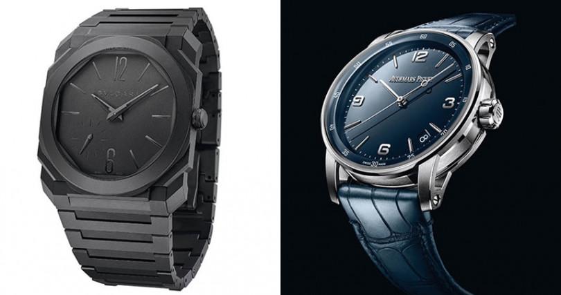 (左)BVLGARI Octo Finissimo Automatic Ceramic,錶殼:陶瓷材質/錶徑:40mm,機芯:BVL 138自動上鍊/振頻每小時21,600次/儲能60小時,功能:小三針/日期,防水:30米,定價:498,200元。(右)AUDEMARS PIGUET Code 11.59 Automatic,錶殼:18K白金材質/錶徑:41mm,機芯:4302自動上鍊/振頻每小時28,800次/儲能70小時,功能:大三針/日期,防水:30米,定價:858,000元。