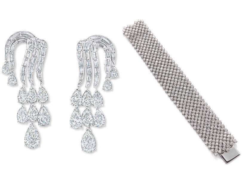 (左)Harry Winston「Carpet」系列鑽石手鍊;(右)「1972 Vintage」系列鑽石耳環(圖片提供╱Harry Winston)
