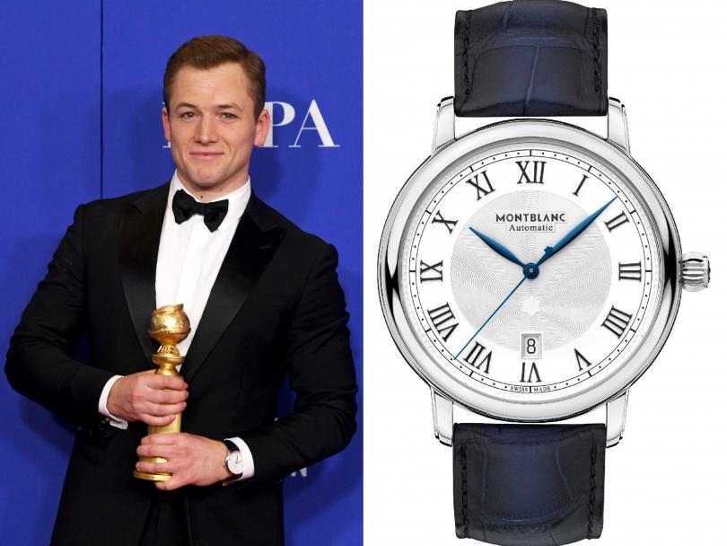 第77屆金球獎影帝泰隆艾格頓(Taron Egerton),佩戴MONTBLANC「明星傳承系列」日期顯示自動腕錶錶╱97,500元(圖片提供╱MONTBLANC)