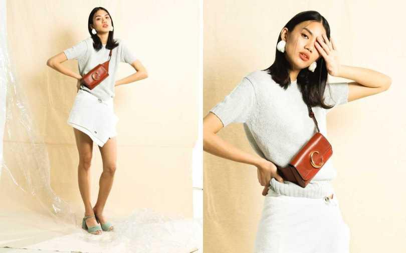 PRADA Knitwear 針織衫/價格未定、Skirt 短裙/價格未定、Earrings 耳環/價格未定;FENDI Light Blue Suede Sandals 跟鞋/約23,684元;Chloé C Belt Bag 腰包/32,300元(攝影/戴世平)