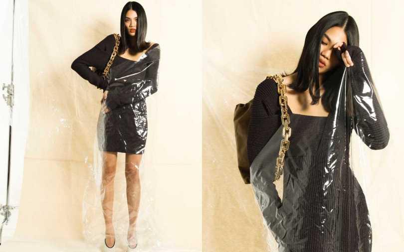 BOGOTA VENETA Dress 洋裝/93,800元、Pumps 跟鞋/價格未定、The Chain Pouch 手袋/約107,900元(攝影/戴世平)