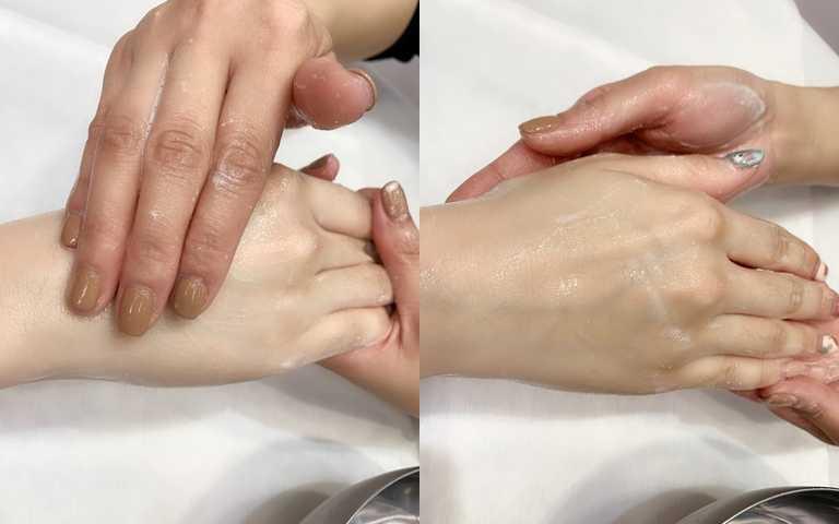 第一步一定要幫雙手好好去角質一下。這個步驟用的是煥白淨膚乳。(圖/吳雅鈴攝影)