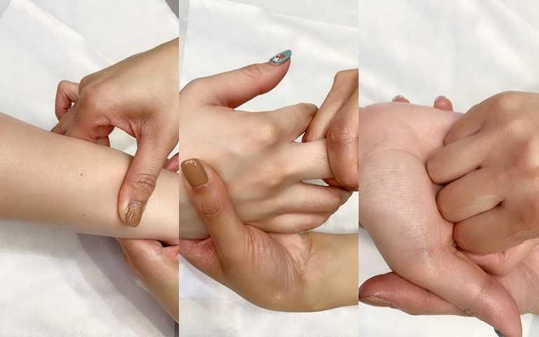塗抹上4D緊膚美體霜+按摩油,從手臂到指關節、掌心做穴點深層按摩,實在好舒服。(圖/吳雅鈴攝影)