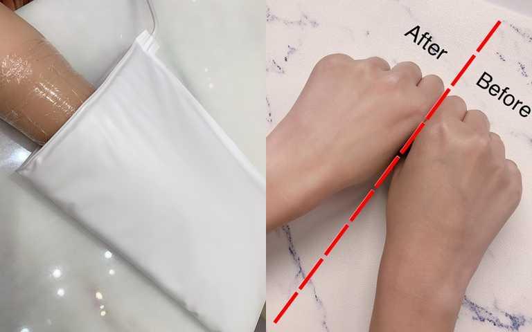 最後這個步驟很重要!用溫熱護手套加強保濕導入,做完這個療程後,肌膚真的變得白嫩嫩,太感動!(圖/吳雅鈴攝影、品牌提供)