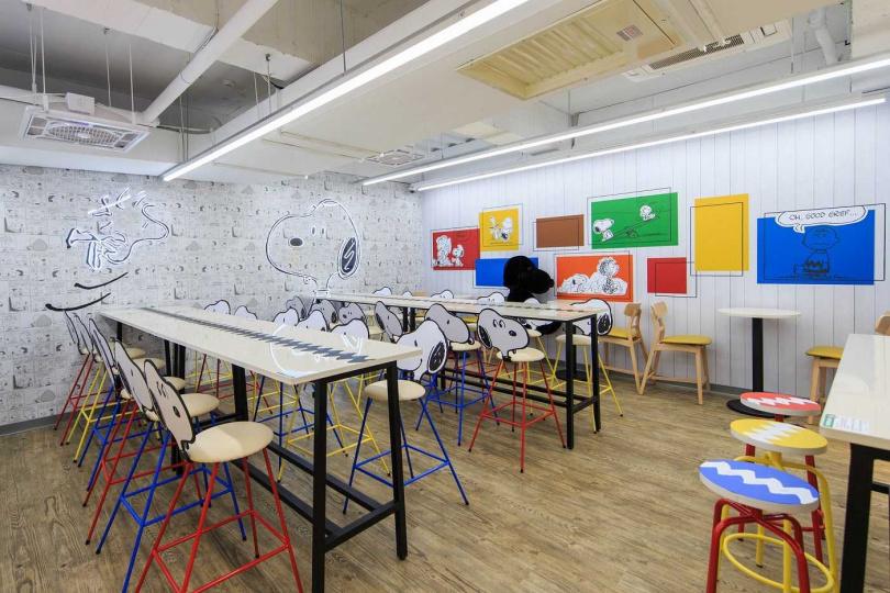 店鋪設計從櫃檯延伸到天花板、牆面、桌椅等,都是史努比與他好朋友的蹤跡。(圖/統一超商)